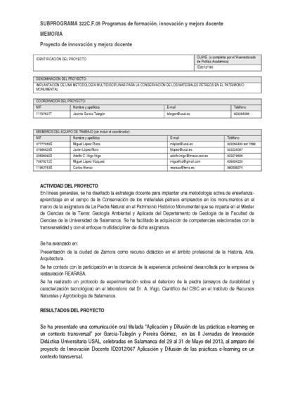 Implantación de una metodología multidisciplinar para la conservación de los materiales pétreos en el patrimonio monumental