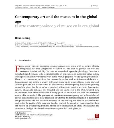Contemporary art and the museum in the global age; El arte contemporáneo y el museo en la era global