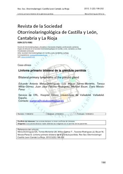 Linfoma primario bilateral de la glándula parótida; Bilateral primary lymphoma of the parotid gland
