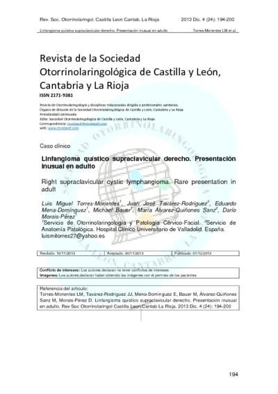 Linfangioma quístico supraclavicular derecho. Presentación inusual en adulto; Right supraclavicular cystic lymphangioma. Rare presentation in adult
