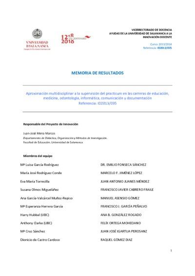 Aproximación multidisciplinar a la supervisión del practicum en las carreras de educación, medicina, odontología, informática, comunicación y documentación