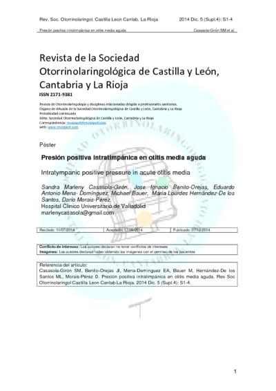 Presión positiva intratimpánica en otitis media a guda; Intratympanic positive pressure in acute otitis media