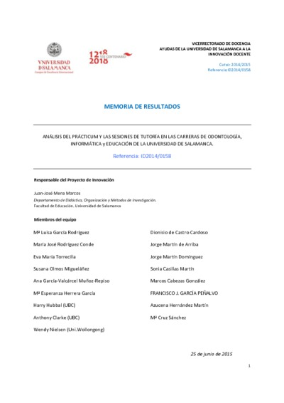 Análisis del prácticum y las sesiones de tutoría en las carreras de Odontología, Informática y Educación de la Universidad de Salamanca