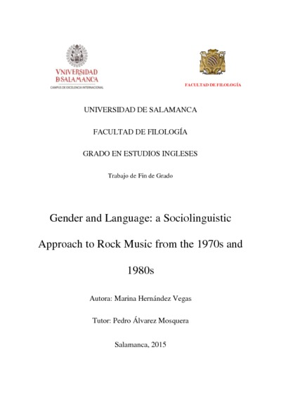 Gender and Language: a Sociolinguistic Approach to Rock Music from the 1970s and 1980s