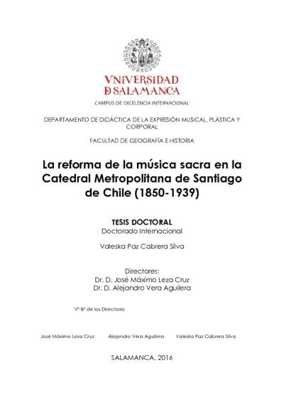 La reforma de la música sacra en la Catedral metropolitana de Santiago de Chile (1850-1939)