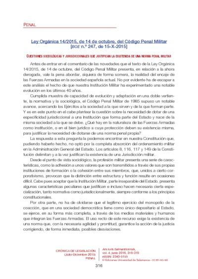 Ley Orgánica 14/2015, de 14 de octubre, del Código Penal Militar [BOE n.º 247, de 15-X-2015]