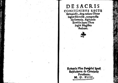 De sacris concionibus recte formandis deq[ue] ratione Theologiae discendae compendiaria formula; De formando studio Rodolphi Agricolae aurea plane epistola