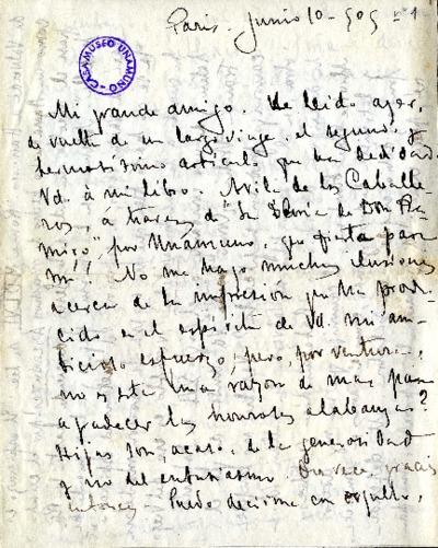 Carta de Enrique Rodríguez Larreta a Miguel de Unamuno. Paris, 10 de junio de 1905