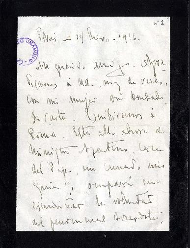 Carta de Enrique Rodríguez Larreta a Miguel de Unamuno. Paris, 14 de enero de 1916