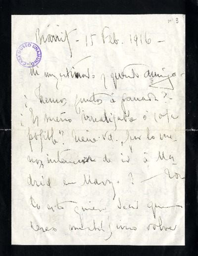 Carta de Enrique Rodríguez Larreta a Miguel de Unamuno. Biarritz, 15 de febrero de 1916