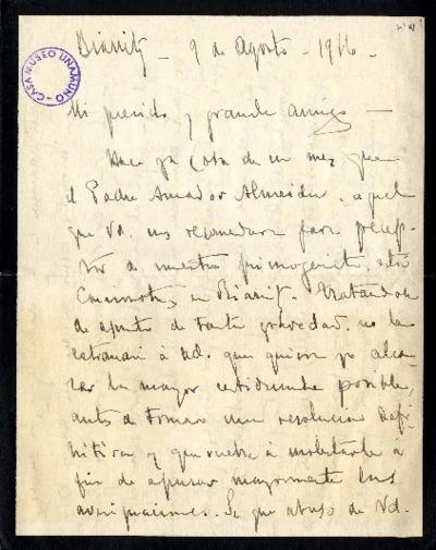 Carta de Enrique Rodríguez Larreta a Miguel de Unamuno. Biarritz, 9 de agosto de 1916