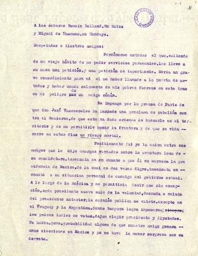 Carta de Gabriela Mistral a Miguel de Unamuno. [Génova], [1929-1930]