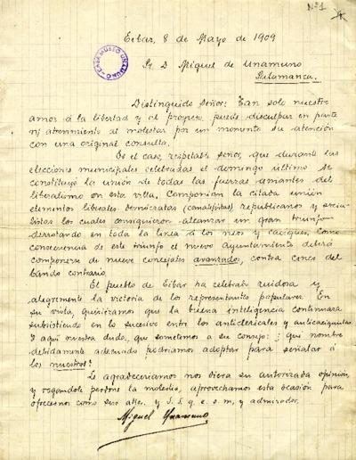 Carta de Miguel Unamuno a Miguel de Unamuno. Eibar, 8 de mayo de 1909