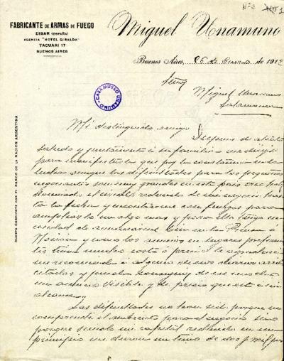 Carta de Miguel Unamuno a Miguel de Unamuno. Buenos Aires, 26 de enero de 1912
