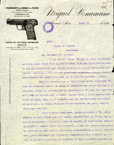 Carta de Miguel Unamuno a Miguel de Unamuno. Buenos Aires, 22 de abril de 1914