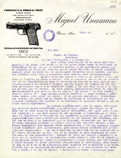 Carta de Miguel Unamuno a Miguel de Unamuno. Buenos Aires, 30 de julio de 1917