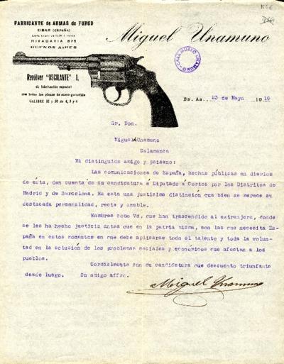 Carta de Miguel Unamuno a Miguel de Unamuno. Buenos Aires, 23 de mayo de 1919
