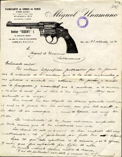 Carta de Miguel Unamuno a Miguel de Unamuno. Buenos Aires, 21 de septiembre de 1920