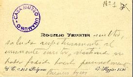 Tarjeta de visita de Rogelio Yrurtia a Miguel de Unamuno