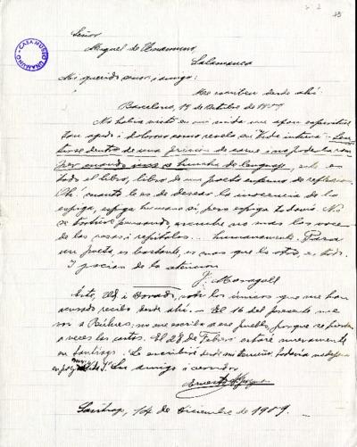 Carta de Ernesto A. Guzmán a Miguel de Unamuno. Santiago de Chile, 14 de diciembre de 1909