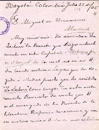Carta de Soledad Acosta de Samper a Miguel de Unamuno. Bogotá, 25 de julio de 1905