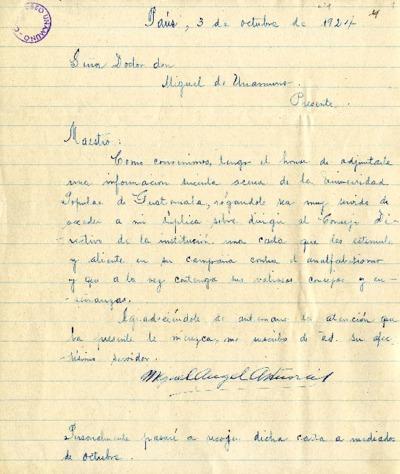 Carta de Miguel Ángel Asturias a Miguel de Unamuno. París, 3 de octubre de 1924