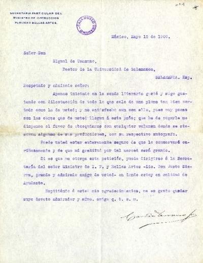 Carta de Carlos Serrano a Miguel de Unamuno. México, 12 de mayo de 1909