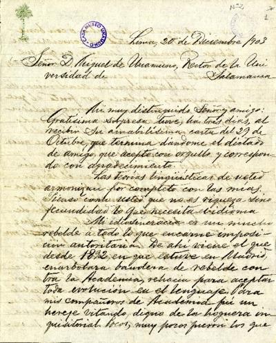 Carta de Ricardo Palma a Miguel de Unamuno. Lima, 20 de diciembre de 1903