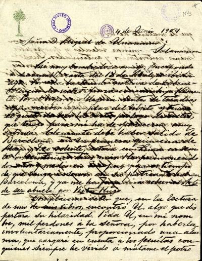 Carta de Ricardo Palma a Miguel de Unamuno. [Lima], 4 de junio de 1904