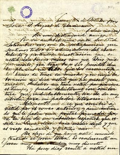 Carta de Ricardo Palma a Miguel de Unamuno. Lima, 27 de octubre de 1904