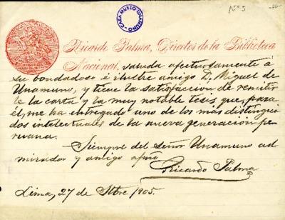 Carta de Ricardo Palma a Miguel de Unamuno. Lima, 27 de noviembre de 1905