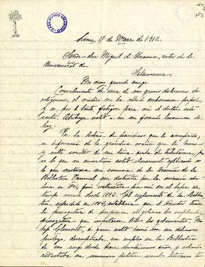 Carta de Ricardo Palma a Miguel de Unamuno. Lima, 17 de marzo de 1912