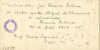 Carta de Ricardo Palma a Miguel de Unamuno. [S.l.], 20 de diciembre de 1903