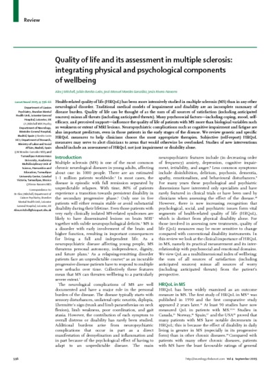 Quality of life and assessment in multiple sclerosis: integrating physical and psychological components of wellbeing
