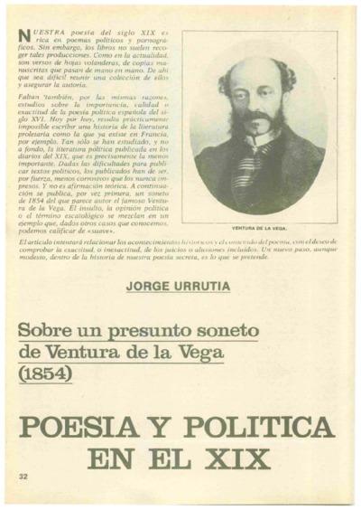 Sobre un presunto soneto de Ventura de la Vega (1854). Poesía y política en el XIX