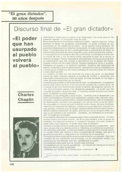 """Discurso final de """"El gran dictador"""": """"El poder que han usurpado al pueblo volverá al pueblo"""""""