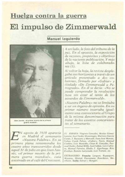 Huelga contra la guerra: El impulso de Zimmerwald