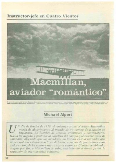 Instructor-jefe en Cuatro Vientos: Macmillan, aviador romántico