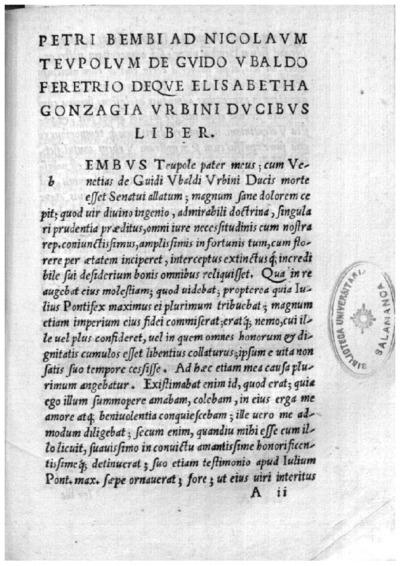 Petri Bembi ad Nicolaum Teupolum De Guido Vbaldo Feretrio deque Elisabetha Gonzagia Vrbini ducibus liber