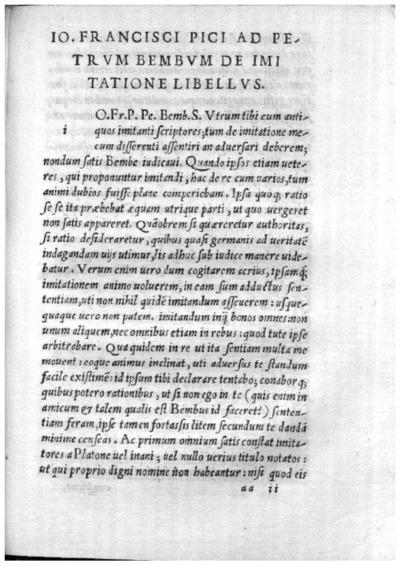 Io. Francisci Pici ad Petrum Bembum De imitatione libellus; De imitatione