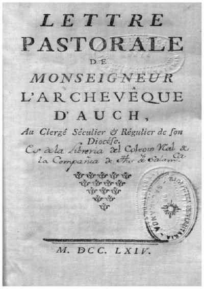Lettre pastorale de Monseigneur l'Archevêque d'Auch au clergé séculier et régulier de son diocése