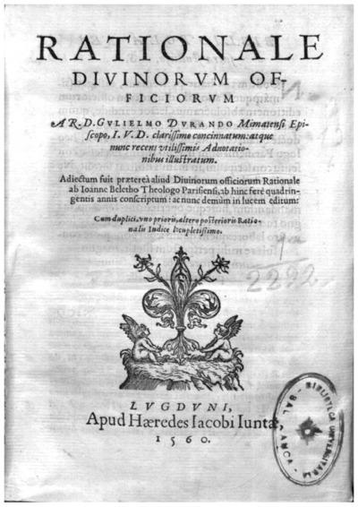 Rationale diuinorum officiorum