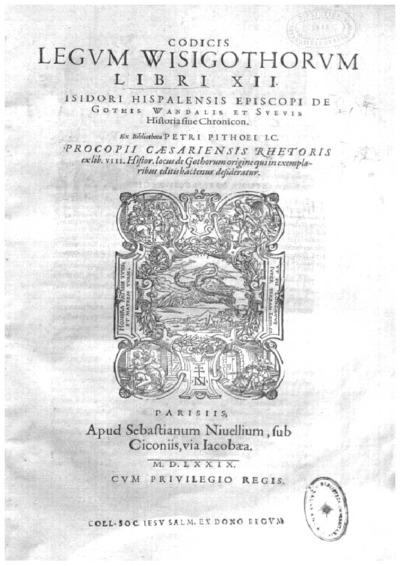 Codicis legum Wisigothorum libri XII; De bello Gothico Griego-latín; De origine Getarum, Vandalorum, Sueborum