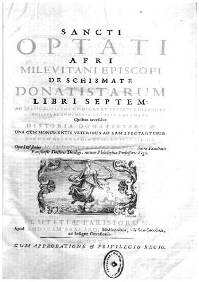 Sancti Optati Afri Milevitani episcopi De schismate Donatistarum libri septem