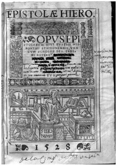 Opus epistolarum diui Eusebii Hieronymi Stridonensis; alter tomus epistolarum tomus vltimus epistolarum sive librorum epistolarium diui Eusebii Hieronymi Stridonensis
