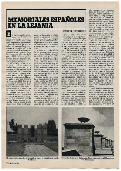 Memoriales españoles en la lejanía