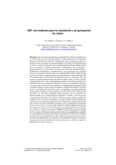 JRF: herramienta para la simulación y programación de robots