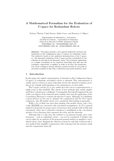 A mathematical formalism for the evaluation of C-space for redundant robots