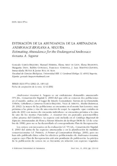 Estimación de la abundancia de la amenazada Androsace rioxana A. Segura; Estimating abundance for the endangered Androsace rioxana A. Segura