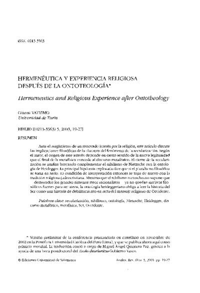 Hermenéutica y experiencia religiosa después de la ontoteología